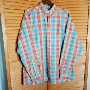Talbots Rainbow Plaid Button Down Shirt